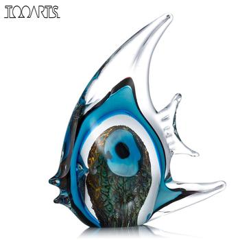 Tooarts Listra Azul Tropical Peixe de Cristal Escultura De Vidro Da Arte Moderna Arte Casa Decoração Do Presente Do Favor Do