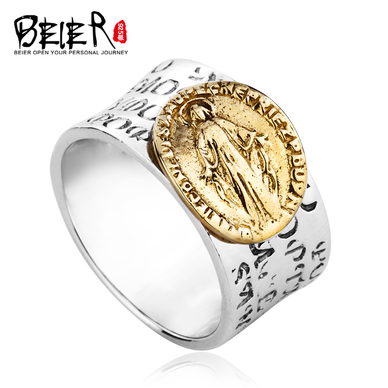 Beier 925 silver sterling jewelry2015 rock mans bike ring copper plating design letter man ring D0628 beier 925 silver sterling jewelry2015 punk animal ring hailand four hands inlaid gems elephant man ring d0711