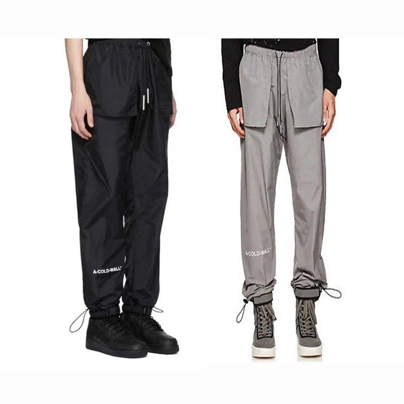 A-COLD-WALL hommes pleine longueur pantalon ACW argenté et noir pantalon décontracté Streetwear haute qualité poids moyen Polyester pantalon