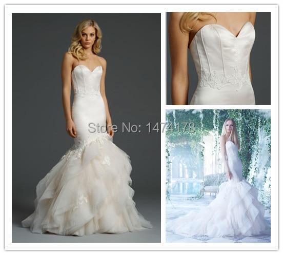 Custom Made 2017 Strapless Sweetheart Neckline Delicate Boning Corset Bodice Layered Skirt Mermaid Wedding Dress Wd