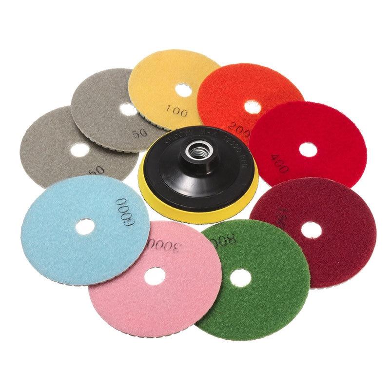 цена на New Arrival 10PCS/set Wet Dry 4 Inch Diamond Polishing Pad Saw Discs For Granite Marble Polish Power Tool Set