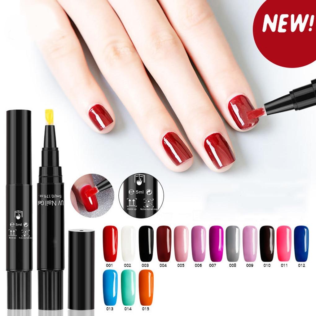 Hot Sale 3 In 1 Gel Nail Polish Pen No Base Top Coat Need Soak Off UV LED Nail Varnish Nail Art Marker Pen