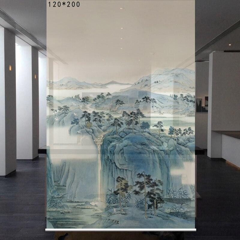 Pièce diviser Biombo motifs d'écran conceptions fenêtre Partition rideau translucide salon suspendu rideau doux 120 cm x 200 cm