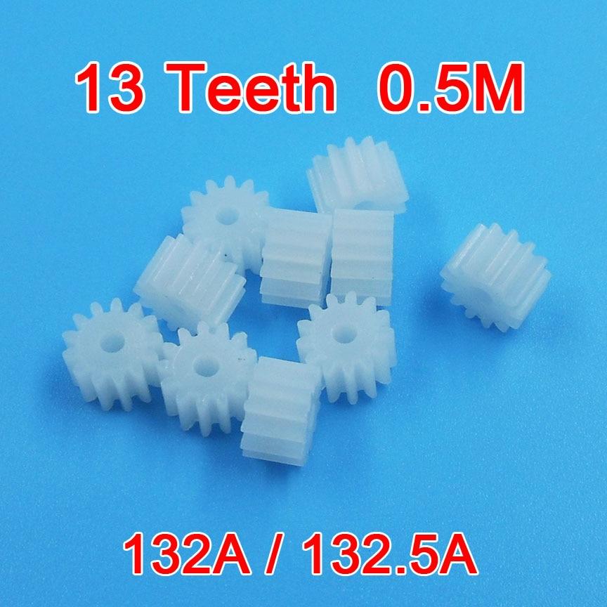 132A / 132.5A  0.5M Gear 2mm Tight 13 Teeth POM Plastic Gear Motor Parts Toy Accessories 10pcs/lot