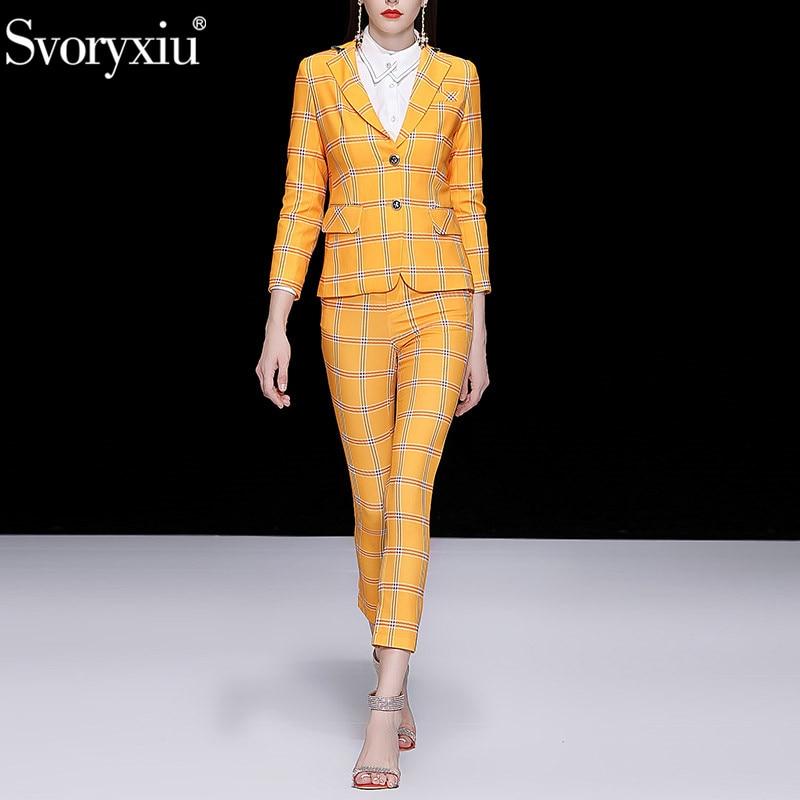 Svoryxiu Autumn Winter Runway Fashion Pants Two Piece Set Women s Elegant Office Lady Yellow lattice