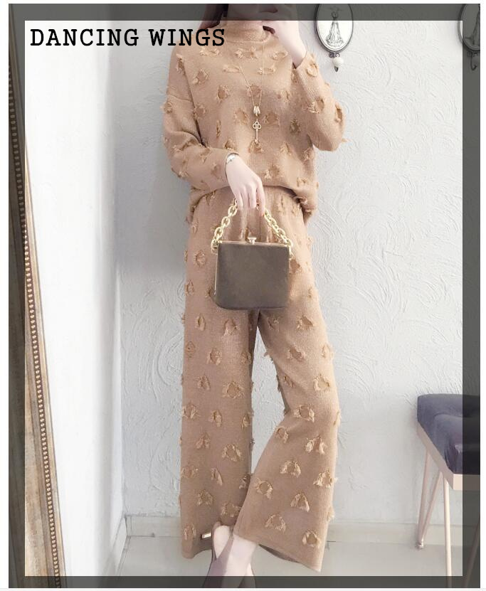 Two Piece Set women fashion 2017 autumn and winter turtleneck sweater and Knitted wide leg pants suit
