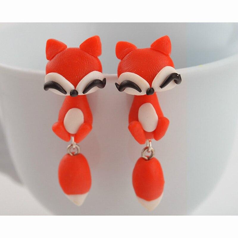Cuteeco Handmade Animal Cute Cat Earrings Cartoon Red Fox Lovely Dog Stitch Stud Earrings For Women Girls Earing Jewelry in Stud Earrings from Jewelry Accessories