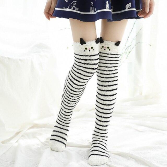 a6dd4dd7e5fd4 2018 NEW Japanese Mori Girl Animal Modeling Knee Socks Striped Cute Kawaii  Cozy Long Thigh High