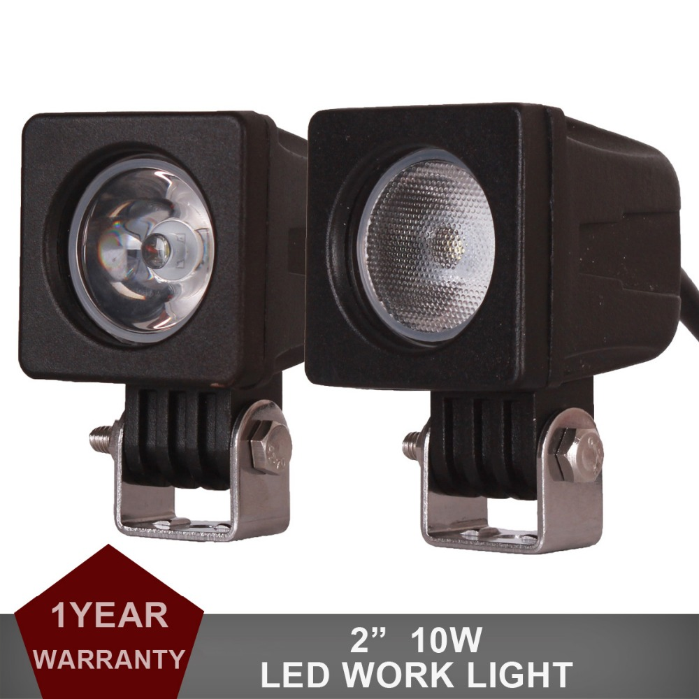 2pcs 10W LED Work Light Offroad Car Auto Truck ATV Motorcycle Headlight Trailer 4WD AWD 4x4 Wagon 12V 24V Spot Flood Fog Lamp