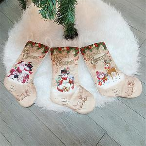 Image 5 - Christmas Stockings Pendant Cloth Ornaments Small Boots Pendant Christmas Pattern Print Party Home Decoration Supplies Gift Bag