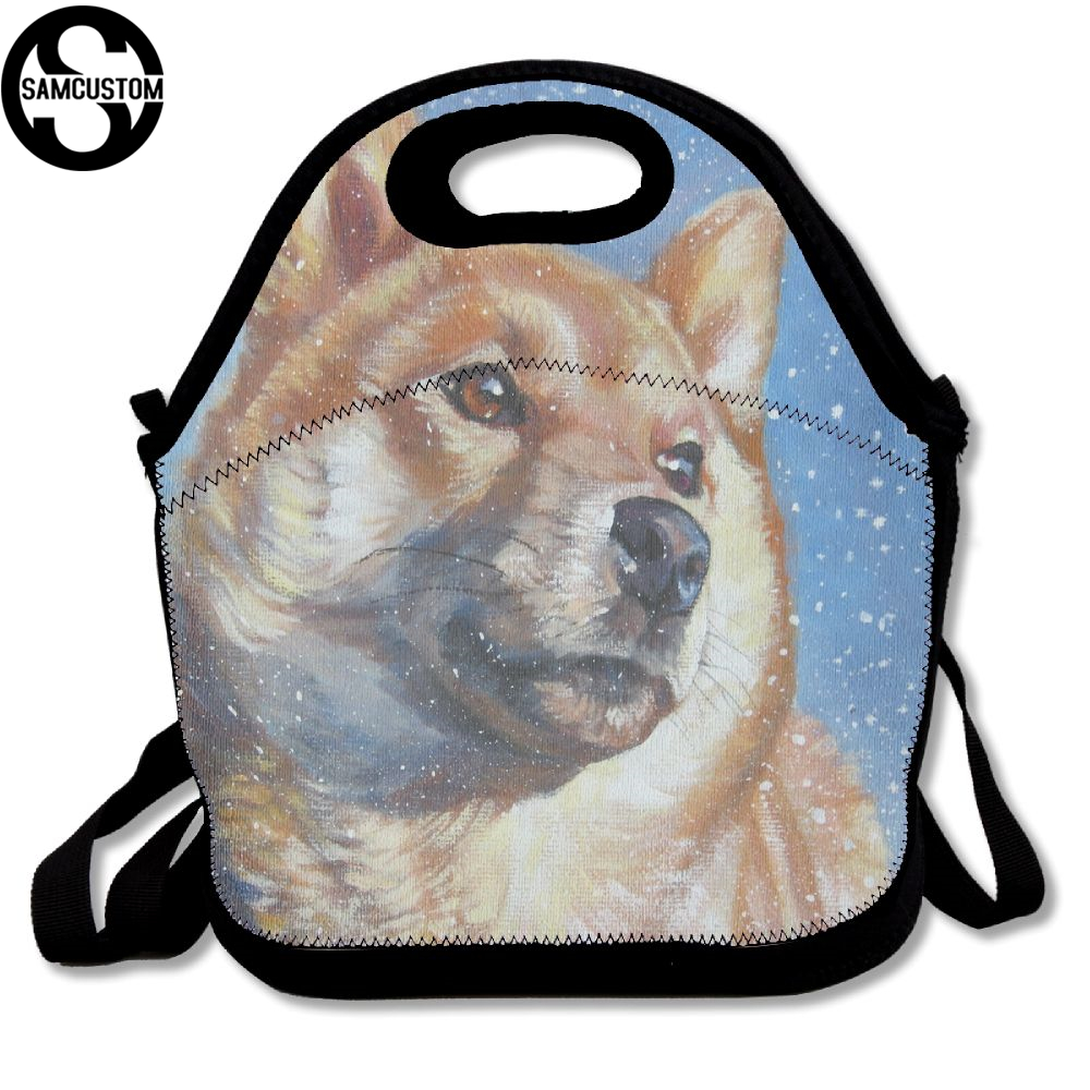 SAMCUSTOM 3D In the snow Shiba inu Lunch Bags Insulated Waterproof Food Girl Packages men and women Kids Babys Boys Handbags