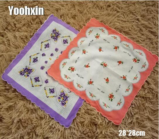 3PCS Vintage Flower Women Square Lady Handkerchief White Lace Printed Children Cotton Wedding Hand Towel Hanky Random Colors