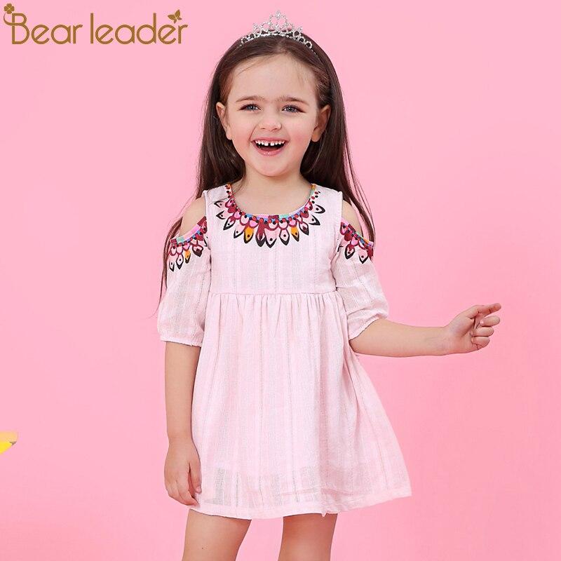 Bear Leader Girls Dress 2019 New Brand Summer Style Dew Shoulder Design Princess Dress Children Clothing Girls Dress For 3-7Y girl