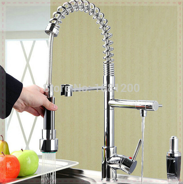 Pull Down Mixer Tap 2 Handle Function Way Water Outlet Kitchen