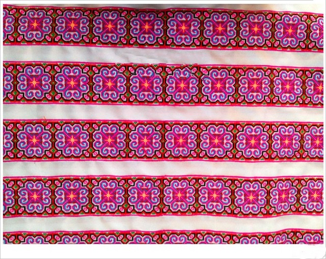 Miao Hmong Embroidery Crochet Cotton Fabric Lace Trim 8cm Dress