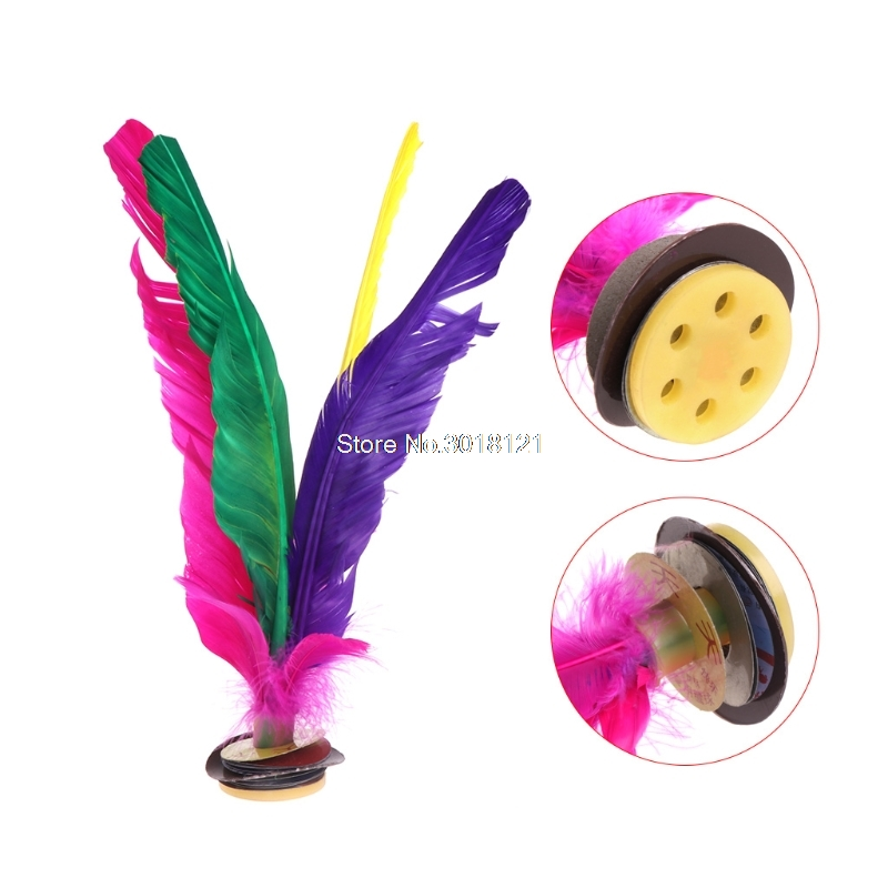 China Jianzi Footbal Foot Kick Handwheel Fancy Goose Feather Shuttlecock Fitness    ROU_1008