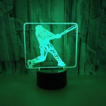 Bisbol 3D Lampu Malam Tujuh Berwarna-warni Kontrol Sentuh Lampu Meja untuk Ruang Tamu Anak-anak Kamar Dekorasi 3D Lampu Meja