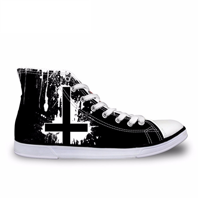ELVISWORDS классический Для мужчин s высокие вулканическая обувь Прохладный Heavy Metal Rock Повседневное мужские тканевые туфли на шнуровке Для мужчин высокого верха кроссовки