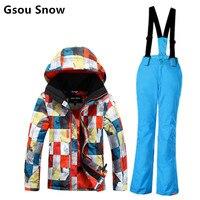 Children ski suit set big boys colorful grids ski jacket and blue pants kids skiwear winter sportswear snowboarding suit