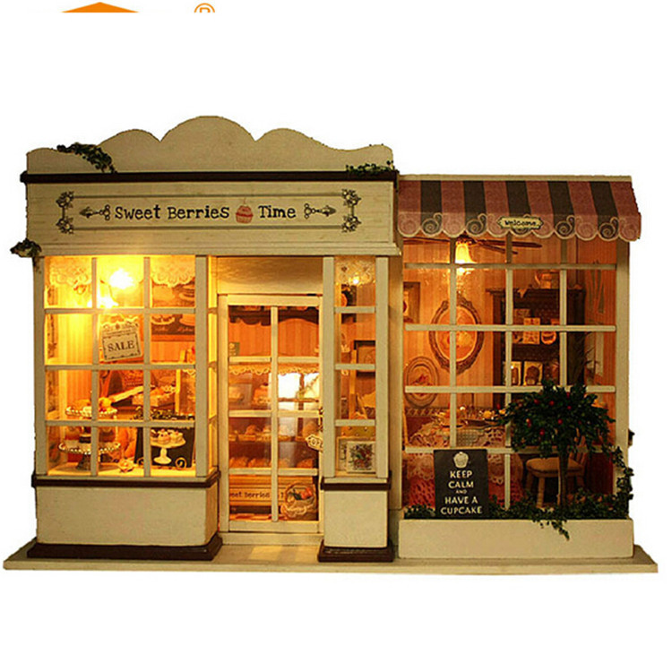 Assembling DIY Miniature Model Kit Wooden Doll House with light music Furnitures sweet berries time handmade