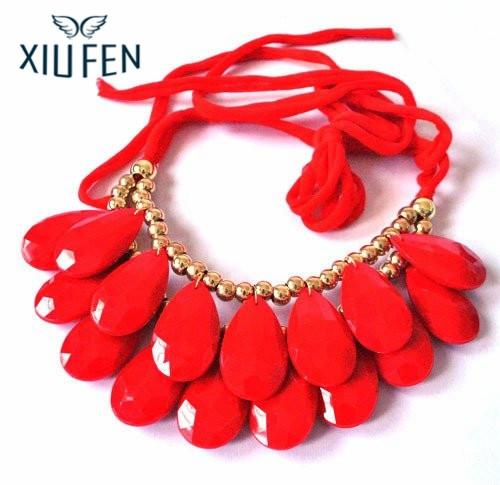 Sangdo OYang Long Ribbon Water-drop String of Big Resin Beads Short necklace - Red