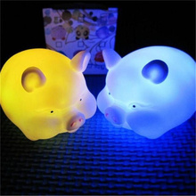Cute Colorful LED Night Light Pig Shape Children Bedside Lamp Kid Toys Christmas Gift Holiday Bedroom Decoration Bulb Multicolor