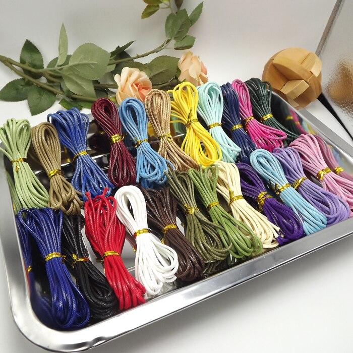 3 mtrx 20 Вид цвет = 60 mtrs всего из вощеного хлопка шнур Нитки веревки украшения ремесла Бисер Строка 2 мм