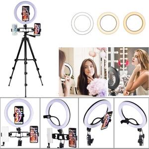 Image 3 - Lampa wideo 26 CM lampa pierścieniowa lampa pierścieniowa led na Youtube sesja zdjęciowa statyw do aparatu fotograficznego Studio z uchwytem na telefon