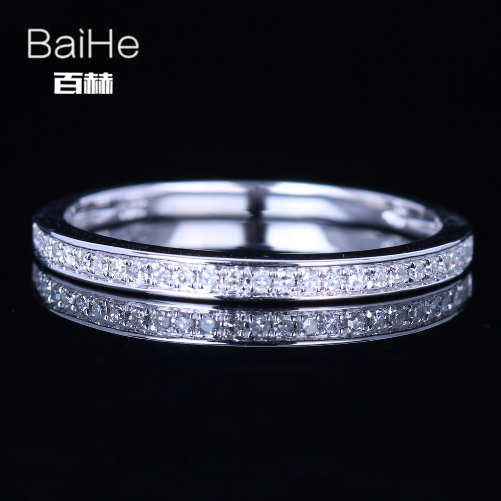 BAIHE Sterling Silver 925 0.13CT Certified H/SI3 Round 100% Genuine Natural Diamonds Engagement Women Trendy Fine Jewelry Ring  BAIHE Sterling Silver 925 0.13CT Certified H/SI3 Round 100% Genuine Natural Diamonds Engagement Women Trendy Fine Jewelry Ring