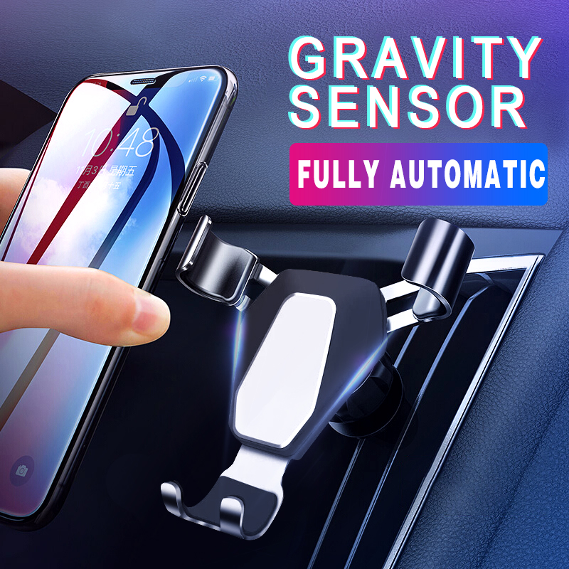 New Car Phone Holder Gravity Holder Air Outlet Automatically Lock Car Mount Mobile Phone Grab Aluminum Car Accessories