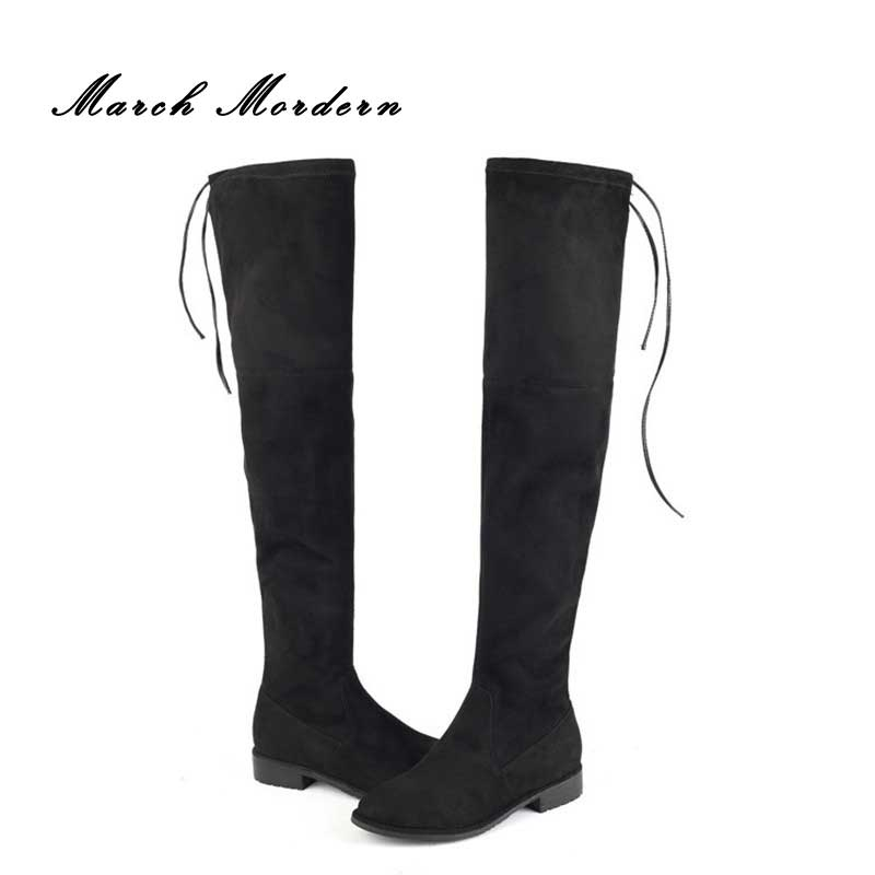 March Mordern Sexy Over the Knee High Women Snow Boots Womens Fashion Winter Thigh High Boots Shoes Woman Lace-Up Flock
