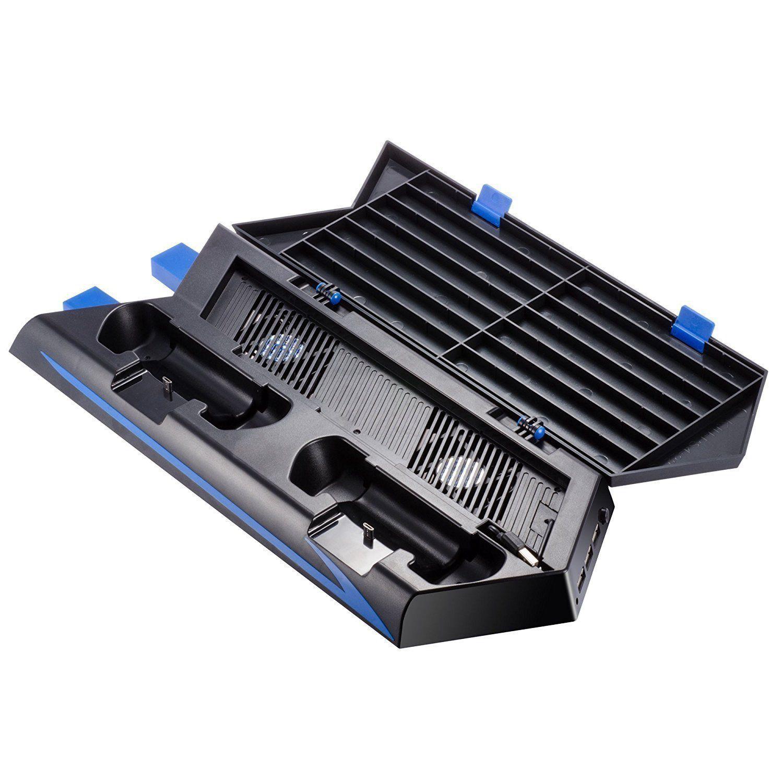 Per PS4 Verticale Stand Ventola Di Raffreddamento A Doppia Stazione di Ricarica per Playstation 4 DualShock 4 Controller, con 2 USB HUB Caricatore Por