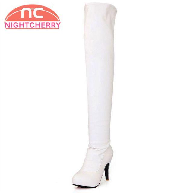 US $52.9 |Größe 31 46 Damen Über Knie Stiefel High Heel Winter Wasserdicht Frauen Lange Stiefel Warme Botas Militares Schuhe heels Schuhe in Größe