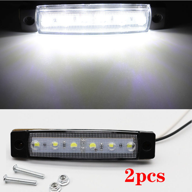 2pcs 12V Car External Lights White 6 SMD LED Auto Car Truck Lorry Side Marker Indicator Trailer Light Tail Rear Side Lamps
