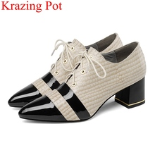 superstar lace up square heels genuine leather big size women pumps elegant office lady mixed colors concise autumn shoes L03