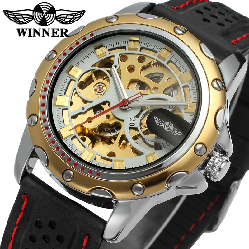 Men watch Winner skeleton watch with gold color bars index black silicone band free shipping with gift box WRG8027M3T7