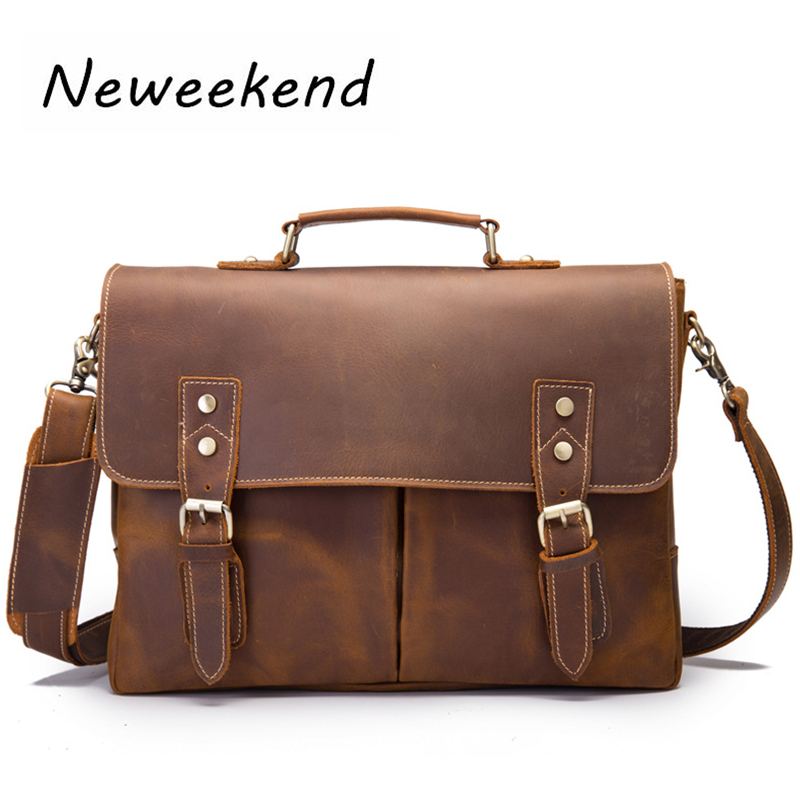 Male Briefcase Genuine Leather Men Shoulder Messenger Bags Vintage Large Laptop Crossbody Retro Man Handbags Business