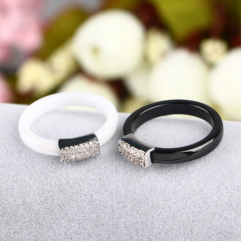 2018 Baru 3 Mm Hitam Putih Keramik Cincin untuk Wanita Bling CZ Batu Perak Temperamen Yang Elegan Pernikahan Wanita Perhiasan untuk Kekasih