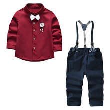 hot deal buy 2018 new autumn baby boy clothes baby clothing suit gentleman shirt with bow tie and baby boy clothing set