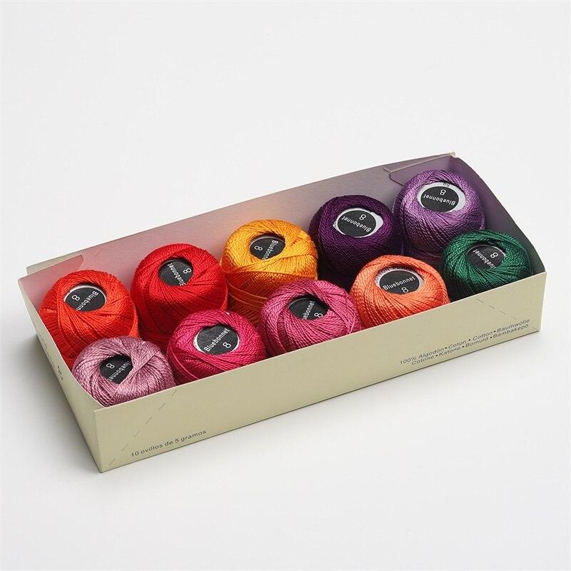 Размер 8 жемчужная хлопковая нить для вышивки крестиком 43 ярдов(5 грамм) на шарик Двойной Мерсеризованный длинный штапельный хлопок 10 шариков в цвет