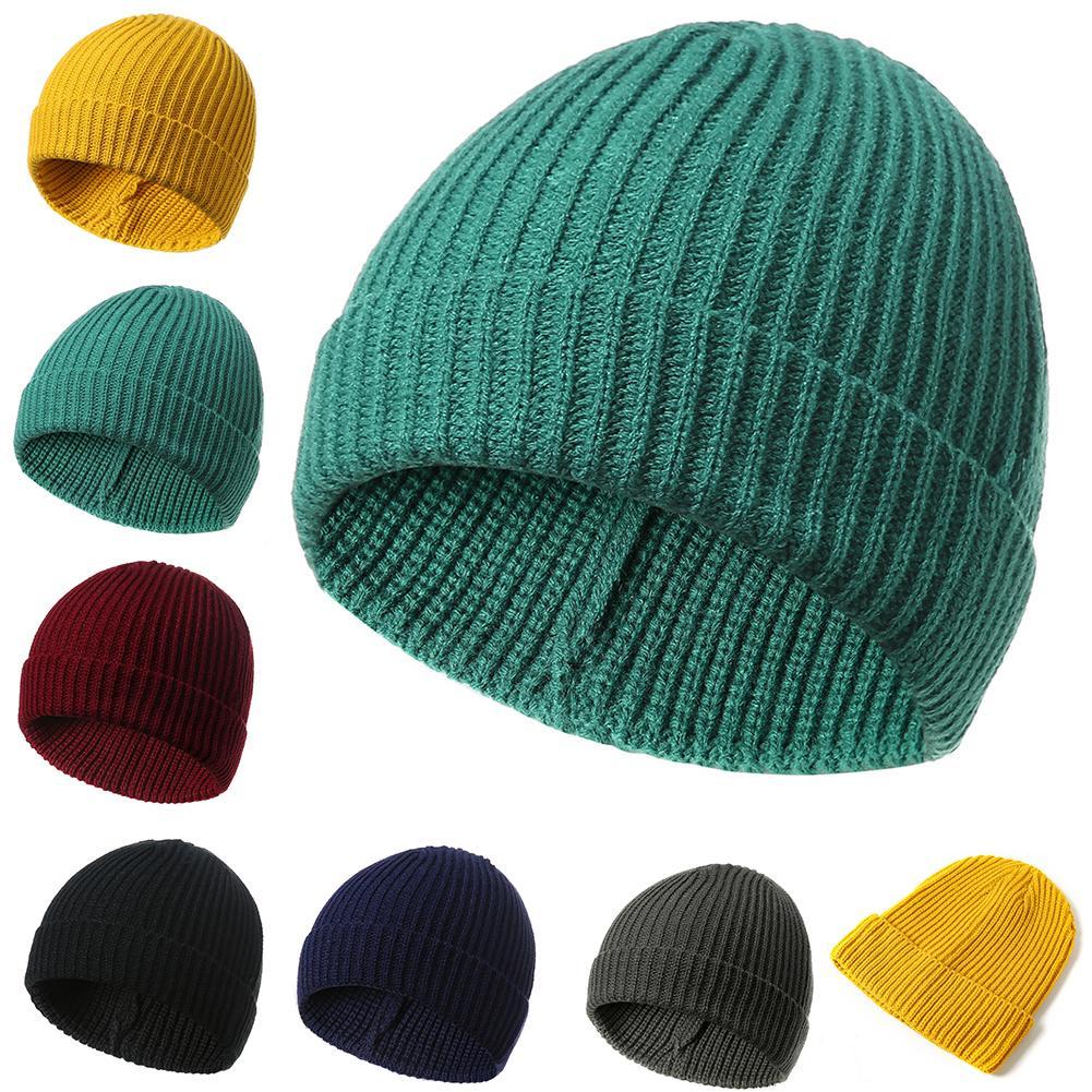 1 Stück Einfarbig Gelb Beanie Kappe Stricken Männer Frauen Herbst Winter Weiche Warme Ski Hut BüGeln Nicht