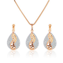 Fashion 2015  Gold Platinum Plated Engagement Jewelry Sets for Women Crystal Zircon Water Drop Pendant Necklace Earrings T024