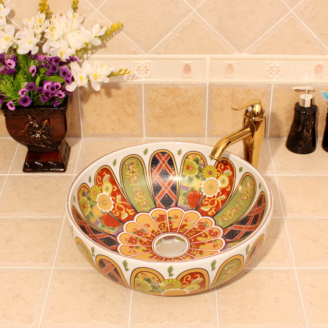 Luxurious Golden Glazed Art Porcelain Counter Top Bathroom Sink Lavabo Ceramic Wash Hand Basin