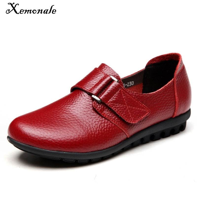 Xemonale Genuine Leather Loafers Slip On Creepers 2016 Casual Platform Shoes Woman Flats Autumn Winter Wedges Moccasin XWD4584 2017 summe breathable women shoes lace loafers summer wedges hide heel casual shoes creepers platform shoes woman slip on flats