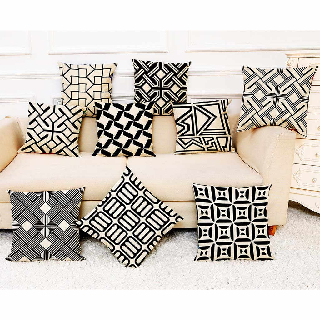 2019 Pillow Cover Cotton Linen Square Home Decoration Throw Pillow Case Sofa Waist Cushion Cover Housse de Coussin Pillowcases