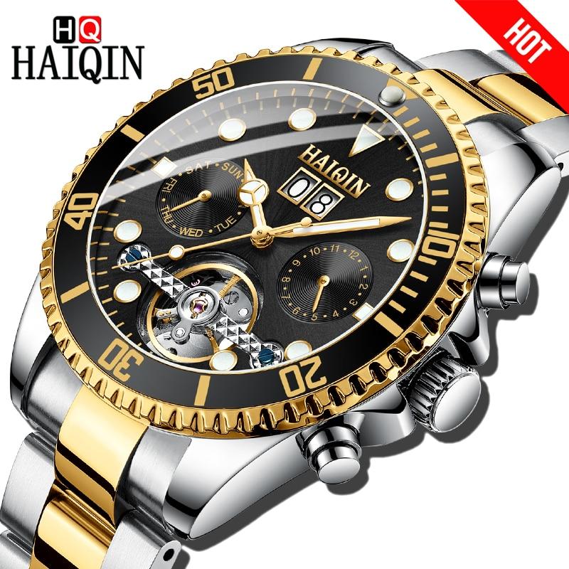 HAIQIN Mechanical Men Watch Business luxury Gift Watch Gold Tourbillon Full steel Waterproof Male Wrist watch