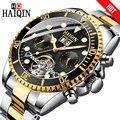 HAIQIN механические мужские часы бизнес роскошные подарочные часы золотые турбийон полностью стальные водонепроницаемые мужские наручные ча...
