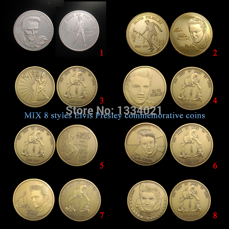 8pcs/lot Great Gift commemorative medals ELVIS PRESLEY THE KING OF ROCK MUSIC coin gold plated music star coins for collection
