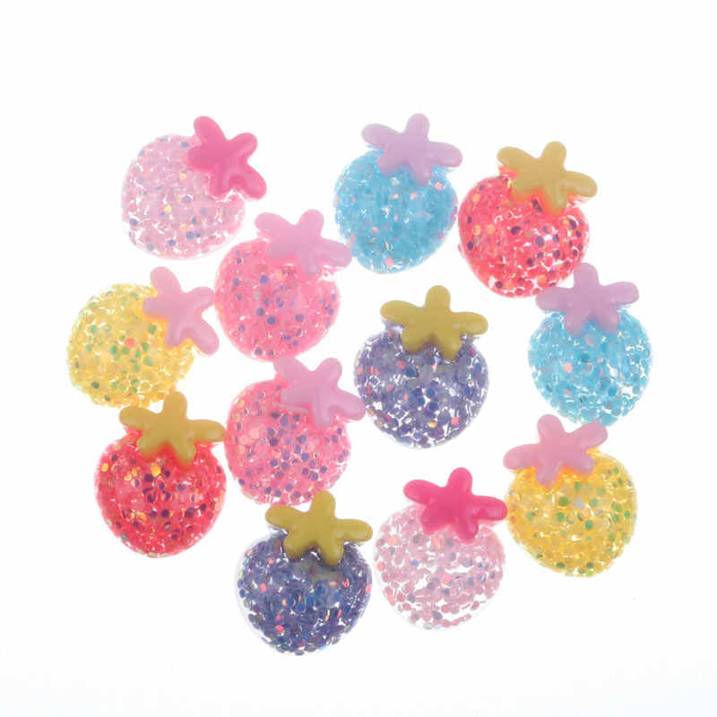 50Pcs Mixed Clear Resin Strawberry Decoration Crafts Flatback Cabochon Embellishments For Scrapbooking Cute Accessories