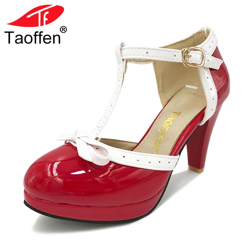 TAOFFEN Size 32-48 Women High Heel Sandals Round Toe Square Heels Shoes Women's Platform Sandals bow Wedding Shoes Footwear